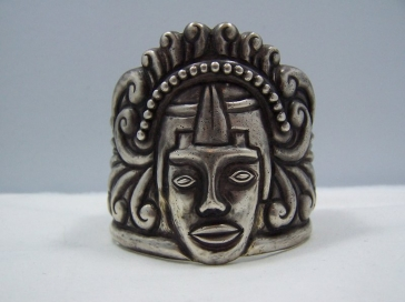 Vintage Mexican Silver Repousse Deity Cuff