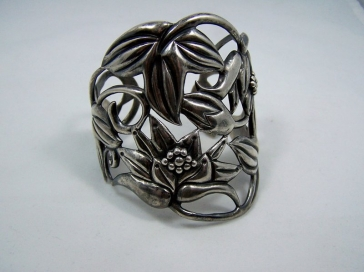 Huge Mexican Silver Far Fan Repousse Cuff Bracelet