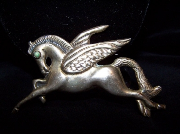 Pegasus Flying Horse Vintage Mexican Silver Brooch/Pin