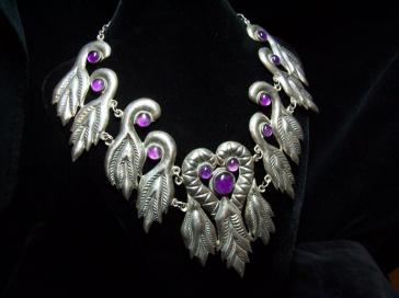 980 Taxco Peacocks Vintage Mexican Silver Necklace