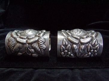 Very Old Vintage Mexican Silver Tobias Repoussage Cuffs