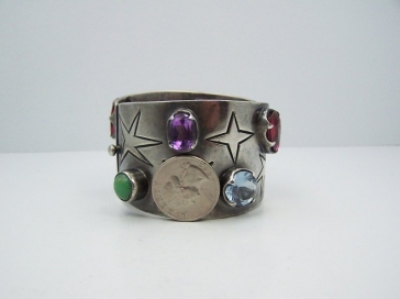 Los Ballesteros Jeweled Star Vintage Mexican Silver Bracelet