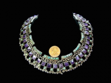 Matl Matilde Poulat Mexican Silver Jeweled Necklace