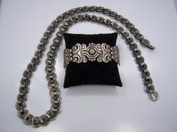 Hector Aguilar Incised Coin Mexican Silver Necklace