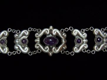 Amethyst Repousse Vintage Mexican Silver Bracelet