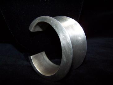 Vintage Mexican Silver Convex Heavy Cuff Bracelet