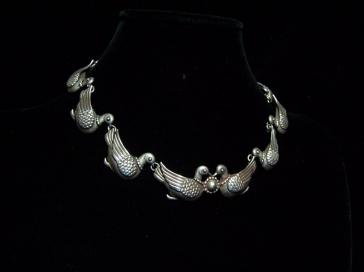 Margot de Taxco Vintage Mexican Silver Doves Necklace