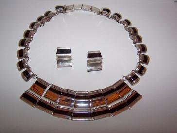 Onyx Balderas Vintage Mexican Silver Necklace Set