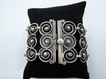 Matl Salas Palomas Rosas Huge Mexican Silver Bracelet