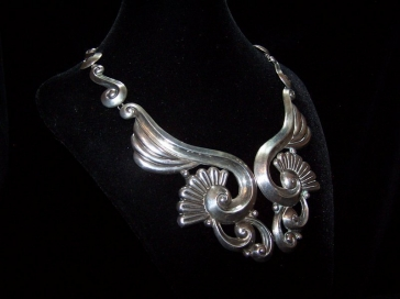 Gerardo Lopez Vintage Mexican Silver Pectoral Necklace