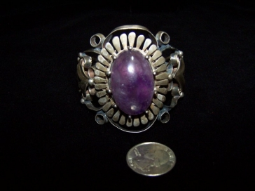 Huge Amethyst Vintage Mexican Silver Cuff / Bracelet
