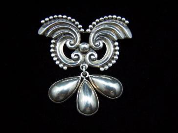 Margot de Taxco Early #5128 Brooch / Pin Mexican Silver