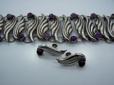 Fred Davis Amethyst Vintage Mexican Silver Earrings