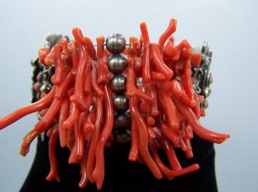 Matilde Poulat Coral Palomas Mexican Silver Bracelet