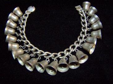 Vintage Mexican Silver Bells Bracelet 1930's