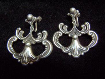 Margot de Taxco Vintage Mexican Silver Earrings