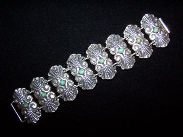 Pre-48 Vintage Mexican Silver Turquoise Stone Bracelet