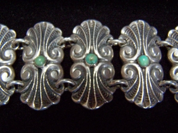 Pre-48 Vintage Mexican Silver Turquoise Stone Bracelet