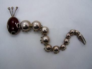 Reveri Vintage Mexican Silver Inch Worm Pin Book Piece