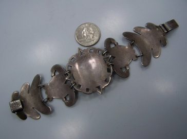Superb Elna Vintage Mexican Silver Fire Opal Bracelet