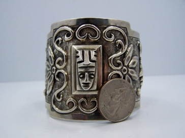 Tobias Vintage Mexican Silver Masquette Bracelet / Cuff