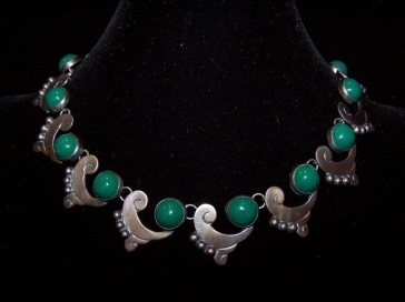 Vintage Mexican Silver Green Glass Parure