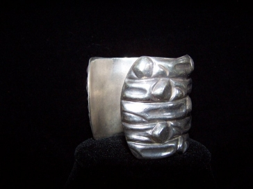 Vintage Mexican Silver Organic Design Repousse Cuff