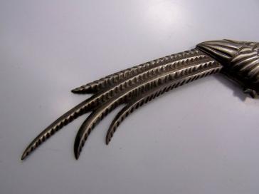 Vintage Mexican Silver Quetzal Bird Brooch