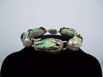 Vintage Mexican Silver Turquoise Hands Bracelet