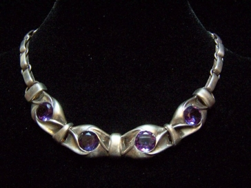 Mexican Silver Necklace With Purple Stones Taxco