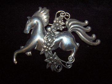 Old Linear Los Castillo Galloping Horse Brooch / Pin