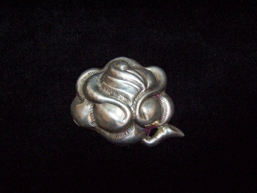 Large Matl Style Vintage Mexican Silver Repousse Brooch