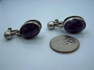 Antonio Pineda Vintage Mexican Silver Amethyst Earrings