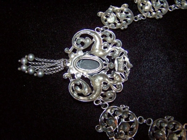 Vintage Cini Sterling Silver Peacock Necklace