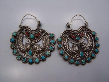 Matl Salas Mexican Silver Huge Hoop Earrings