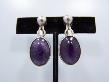 Antonio Pineda Vintage Mexican Silver Amethyst Earrings