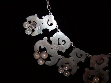 Vintage 980 Taxco Mexican Silver Pre-Eagle Necklace