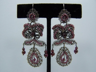 Garnet Filigree Mexican Silver Earrings Mexico