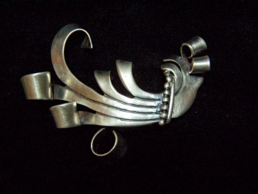 Vintage Mexican Silver Big Spratling Design Bird Brooch