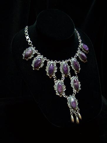 Amethyst Vintage Mexican Silver Cascade Necklace