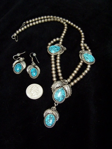 Navajo Silver Necklace and Earrings Native American