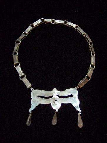 Deco Vintage Mexican Silver Amethyst Drop Necklace