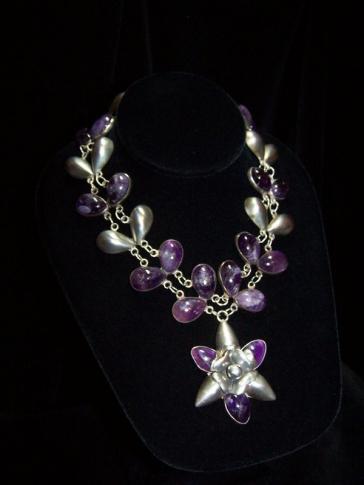 Incredible Vintage Mexican Silver Amethyst Necklace