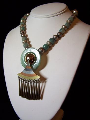 Early Los Castillo Artifact Vintage Mexican Silver Necklace