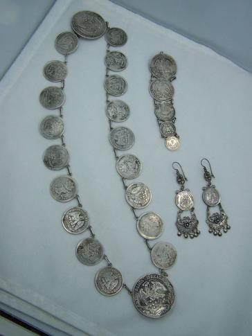 Vintage Mexican Silver Coin Necklace Incredible