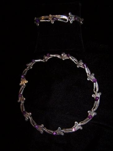 AAR Mexican Silver Amethyst Bracelet Necklace Set