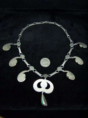 Vintage Mexican Silver Green Jewels Necklace Gorgeous