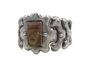 P. Ochoa Repousse Mexico City Silver Vintage Bracelet