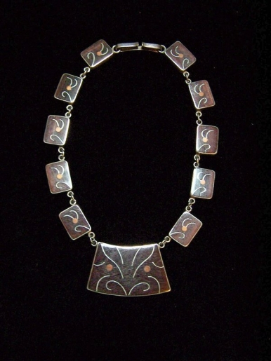 Vintage Mexican Silver Japanese Wood Inlay Necklace