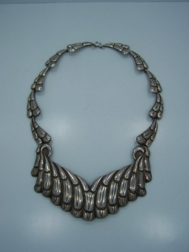 Stunning Vintage Mexican Silver Feathers Necklace